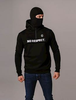 "Full Face Hoodie ""NO RESPECT"" Black"